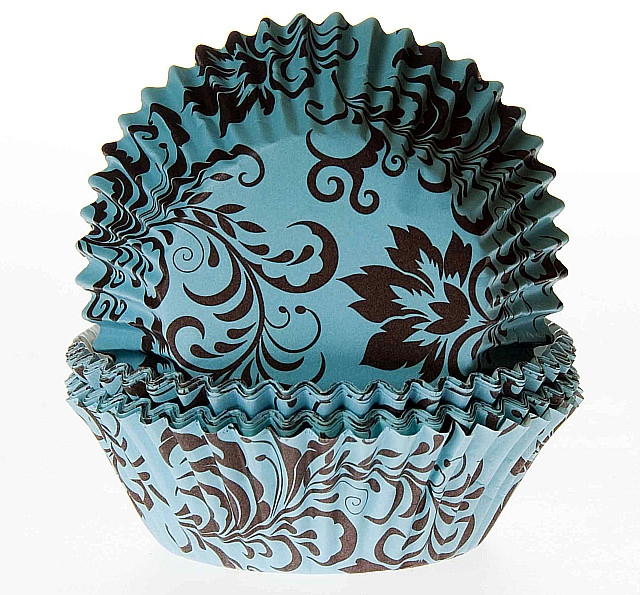 Cake cups Damask turquoise