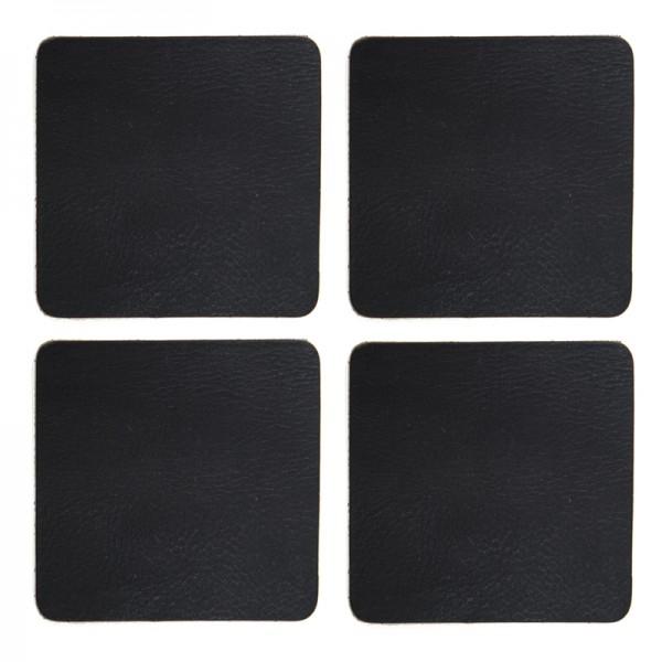 Leren onderzetters set/4 - zwart